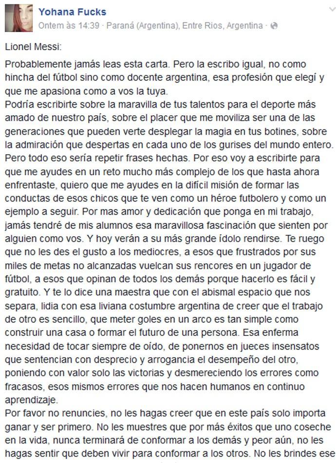 Post da professora argentina Yohana Fucks