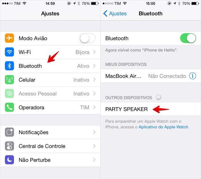 Emparelhando caixa de som bluetooth com o iPhone (Foto: Reprodução/Helito Bijora)