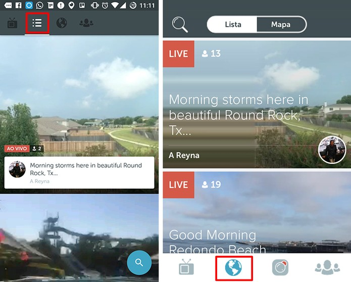 Periscope para Android e iPhone possui lista com transmissões em destaques (Foto: Reprodução/Elson de Souza)