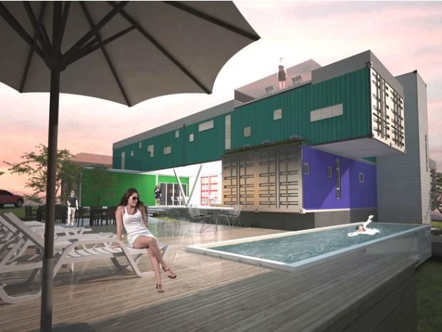 Casa de 500 m² está sendo construída com 15 contêineres, incluindo o reservado para a piscina (Foto: Divulgação / CasaFoz Design)