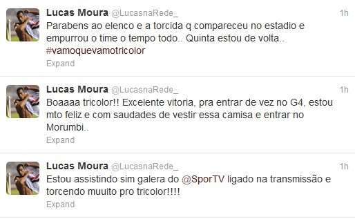 Em sua página pessoal, Lucas comemorou a vitória do São Paulo (Foto: Reprodução / Twitter)