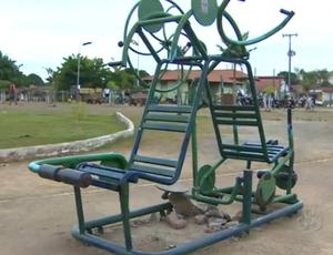Equipamento enferrujado no Parque da Cidade (Foto: Reprodução/TV Rondônia)