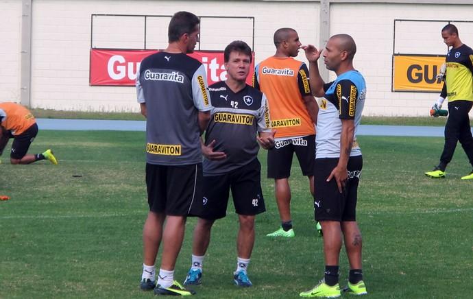 Emerson Sheik conversa com Vagner Mancini no treino do Botafogo (Foto: Gustavo Rotstein)