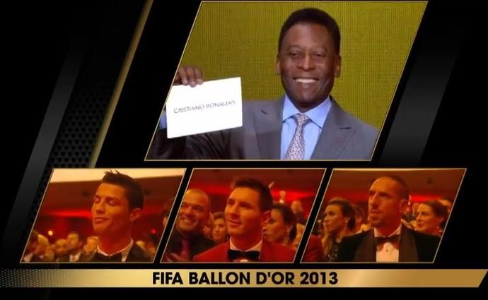Pelé anuncia Cristiano Ronaldo como melhor do mundo de 2013 (Foto: Reprodução)