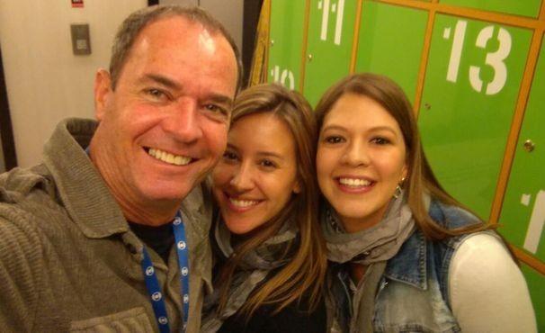 Clayron conservani, Cristiane Dias e Tâmara Oliveira nos bastidores do Globo Esporte (Foto: Arquivo Pessoal)