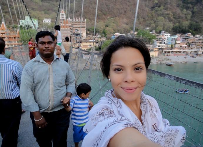 A atriz Cacau Melo se encantou com as paisagens da Índia (Foto: Arquivo Pessoal)