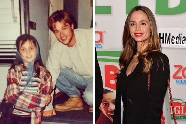 Eliza Dushku ao lado de Brad Pitt em 1992 e hoje em dia (Foto: Twitter / Getty Images)