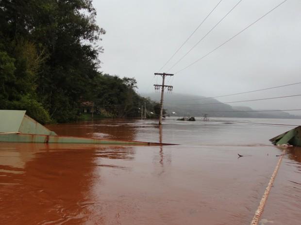 Rio Uruguai atinge nível de 14,65 metros em Porto Mauá (Foto: Vilson Winkler/Prefeitura de Porto Mauá)