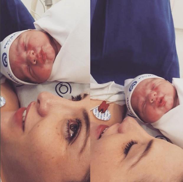 Clara Aguilar no dia do parto do filho, Max (Foto: Reprodução/Instagram)