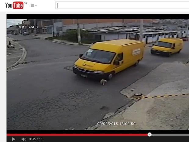 Roda dianteira direita da Van dos Correios atinge cão (Foto: Reprodução/YouTube)