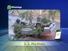 Motorista perde controle e cai com caminhonete de viaduto em Rio Preto