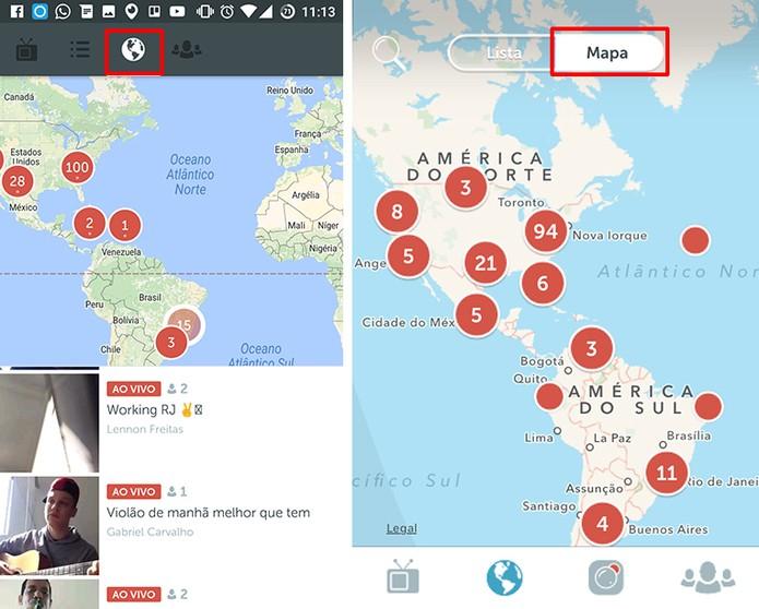 Periscope traz mapa para ajudar a descobrir novas transmissões (Foto: Reprodução/Elson de Souza)