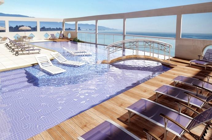 Único Prédio com piscina de borda infinita na cobertura frente mar (Foto: Divulgação)