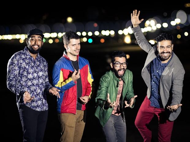 João Freitas, Léo Sales, Edu Araújo e Jorge Badauê criaram a festa Tem Que Dar, onde paga-se quanto quiser para entrar (Foto: Divulgação/ Tem Que Dar)