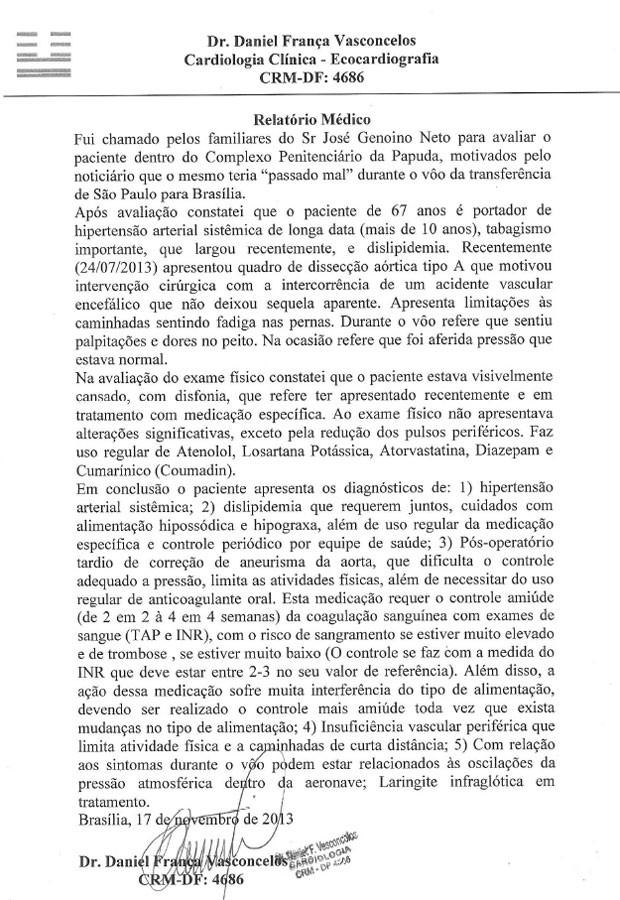 Relatório médico feito após avaliação em José Genoino (Foto: Reprodução)