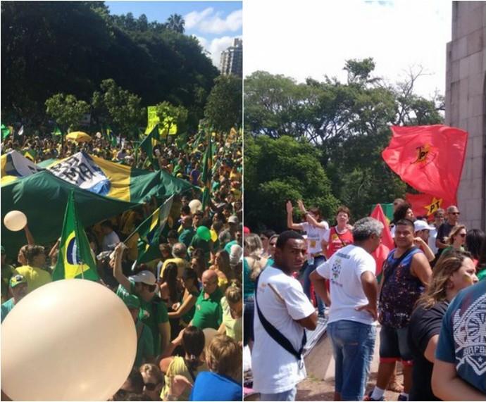 Manifestações pró e anti PT e o governo Dilma em Porto Alegre (Foto: Montagem sobre fotos/Igor Grossmann/G1 e Dayanne Rodrigues/RBS TV)