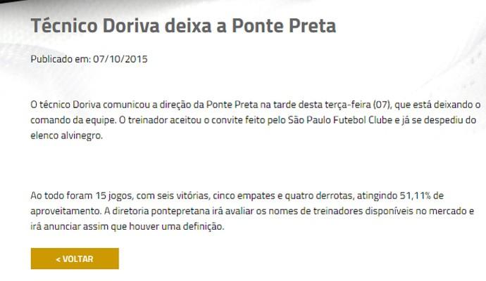 Nota oficial Ponte Preta Doriva São Paulo (Foto: Reprodução / site oficial)
