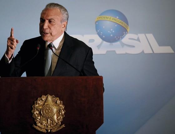 Michel Temer,  ao dizer que não vai renunciar (Foto: Ueslei Marcelino/Reuters)
