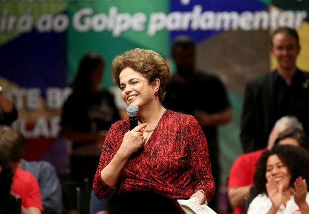 A presidente afastada Dilma Rousseff participa de ato em Brasília às vésperas do julgamento do impeachment (Foto: Wilson Dias/Agência Brasil)