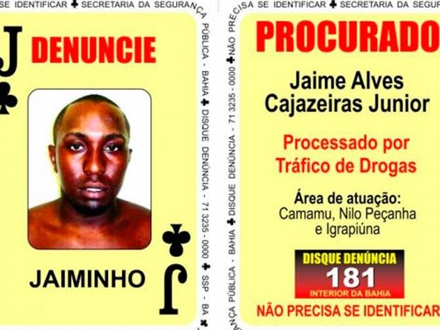Homem era procurado por tráfico de drogas na região de Camamu (Foto: Reprodução/ Disque Denúncia)