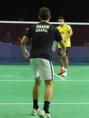 Igor Ibrahim, Lin Dan, evento-teste, badminton (Foto: Matheus Tibúrcio)