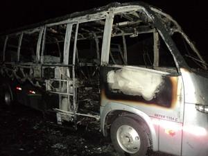 Dois ônibus ficaram destruídos e um foi parcialmente danificado, conforme a PM (Foto: Polícia Militar/Divulgação)