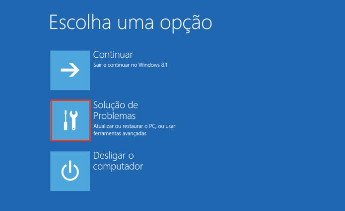 Acesse a solução de problemas do Windows (Foto: Reprodução/Paulo Alves)