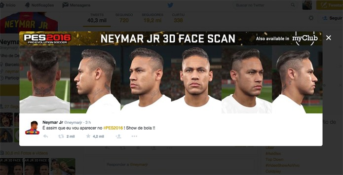 Neymar mostra seu visual em PES 2016 (Foto: Reprodução)