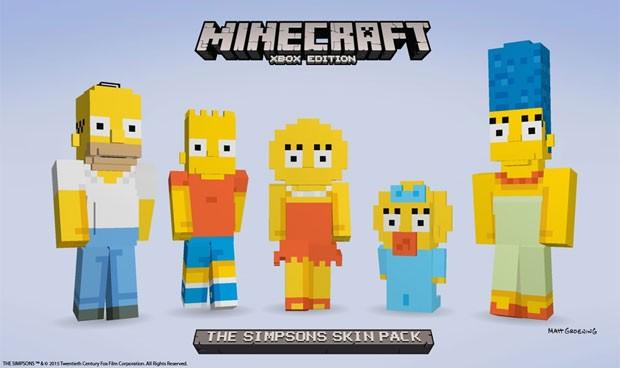 A familía Simpson em versão quadrada para 'Minecraft' (Foto: Divulgação/Microsoft)