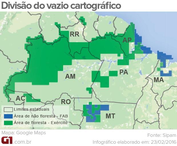 Arte vazio cartográfico - cartografia amazônia (Foto: Arte G1)