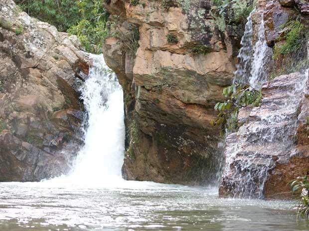 Cachoeira na região do Poço Azul, em Brazlândia (Foto: Vianey Bentes/TV Globo)
