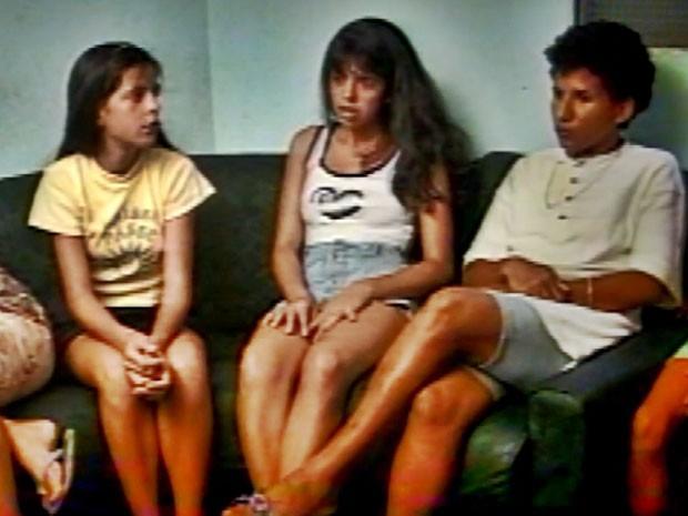 Valquíria (à esq.), Liliane (centro) e Kátia (à dir.) em 1996; meninas teriam visto a criatura (Foto: Arquivo EPTV)