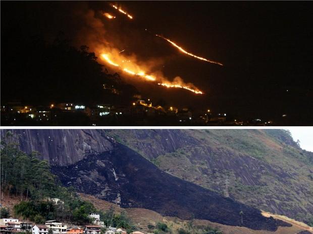 Incêndio é controlado no Alcobacinha, em Petrópolis (Foto: Arquivo pessoal/Alexandre Peixoto)