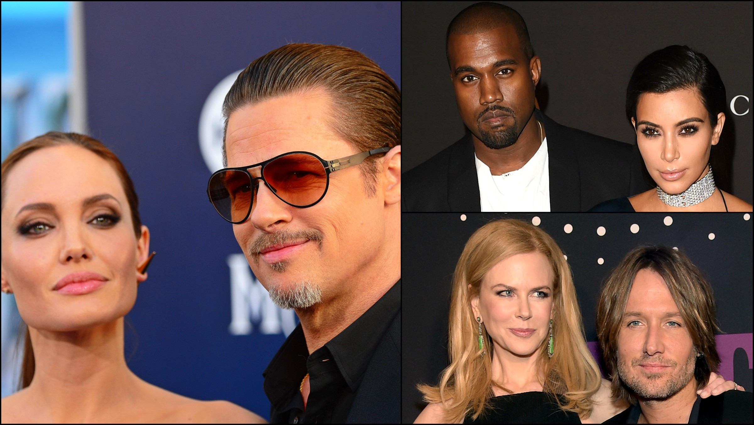 Angelina Jolie com Brad Pitt, Kim Kardashian com Kanye West e Nicole Kidman com Keith Urban. (Foto: Getty Images)