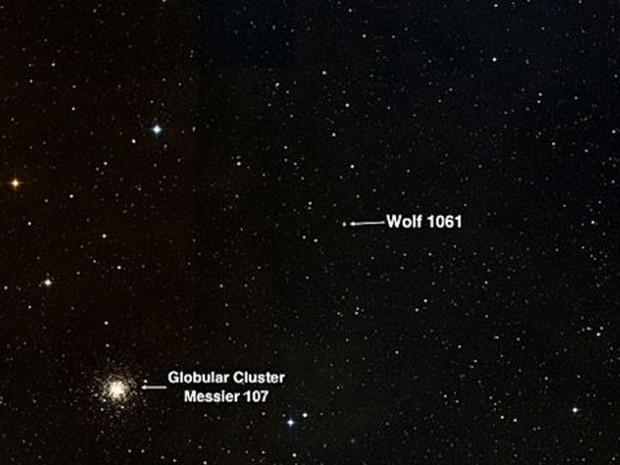A localização da estrela Wolf 1061  (Foto: BBC/Universidade de Nova Gales do Sul)