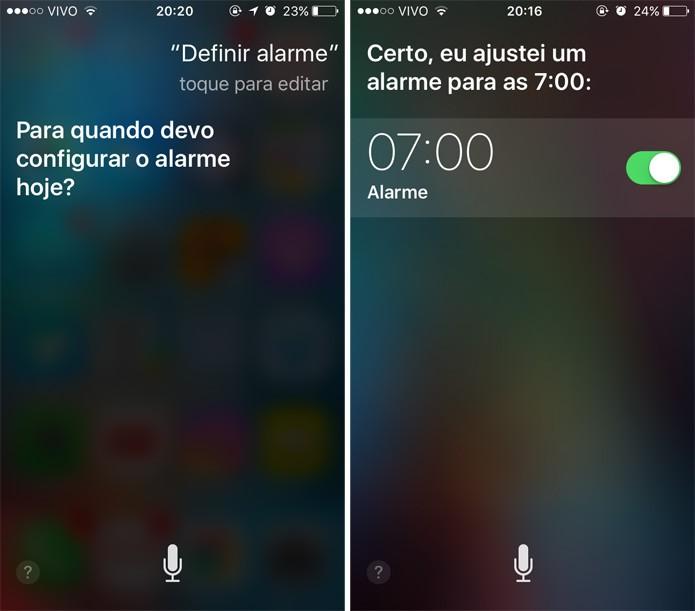 Também é possível definir alarmes usando apenas a voz (Foto: Reprodução)