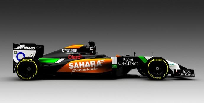 Primeira foto do novo carro da Force India mostra bico alongado e rebaixado (Foto: Divulgação)