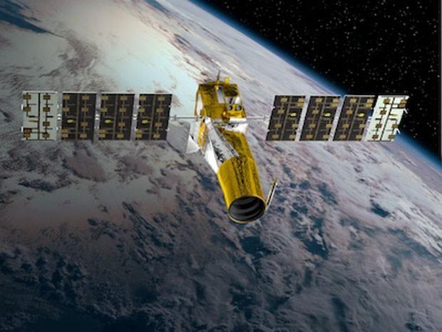 Impressão artística do equipamento CoRoT, criado para detectar planetas alienígenas que são parecidos com a Terra (Foto: Divulgação/Agência Espacial Francesa)