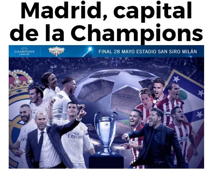 Destaque do site do jornal Marca pela final da Liga dos Campeões com Real Madrid e Atlético