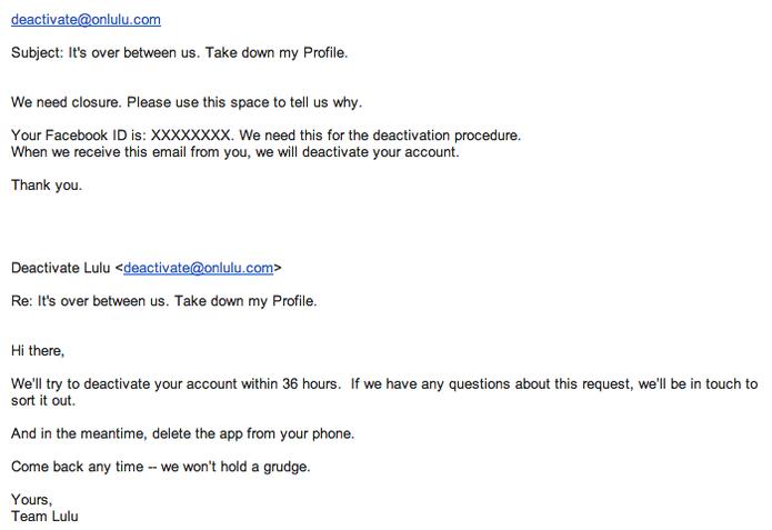 E-mail de confirmação para remoção do perfil do Lulu (Foto: Reprodução/TechTudo)