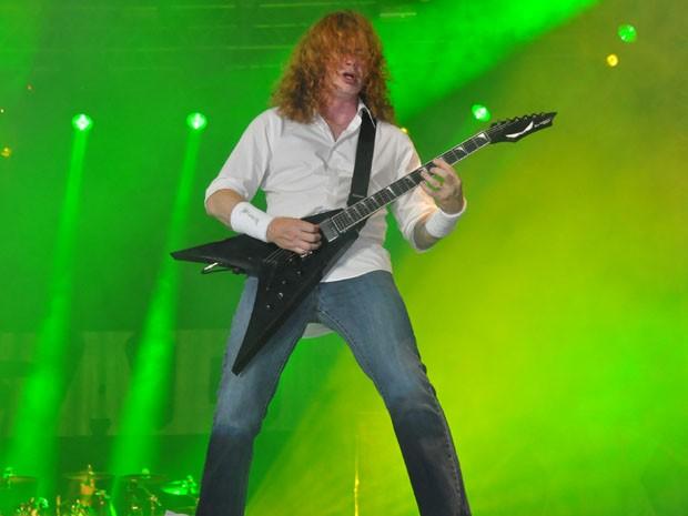 David Mustaine, líder do Megadeth, no Metal Open Air (Foto: Alex Trinta)