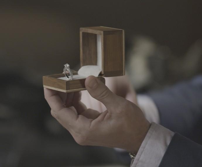 Executivo chega de viagem e presenteia Lívia com um anel de noivado (Foto: TV Globo)