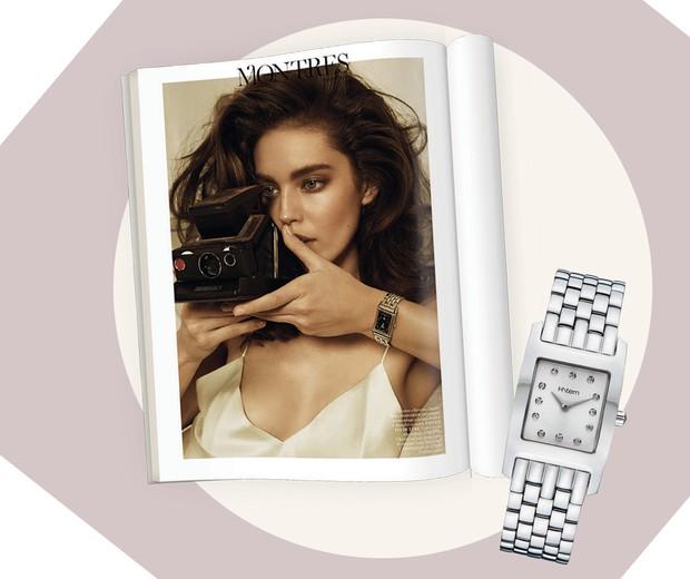 À esquerda, modelo Jaeger-LeCoultre em editorial da Vogue francesa. À direita, relógio H.Stern R$ 6.010 (Foto:  Fernando Tomaz e Thiago Justo, Agência Fotosite, Imaxtree, Giampaolo Sgura para Vogue Paris/Abril de 2013 e Divulgação )