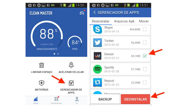 Identificando os aplicativos que consomem mais espaço no Android com o Clean Master (Foto: Reprodução/Marvin Costa)
