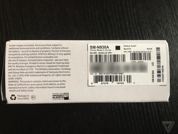 Caixa do Galaxy Note 7 que pegou fogo tem símbolo que identifica aparelho sem riscos (Foto: Reprodução/Brian Green/The Verge)