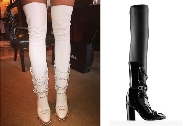 As pernas de Rita Ora destacando a bota na versão em branco e o still da mesma (Foto: Reprodução Instagram/ Divulgação)