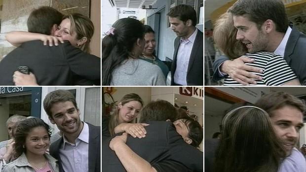Prefeito eleito de Pelotas é abordado por mulheres nas ruas (Foto: Montagem sobre fotos/Reprodução, RBS TV)