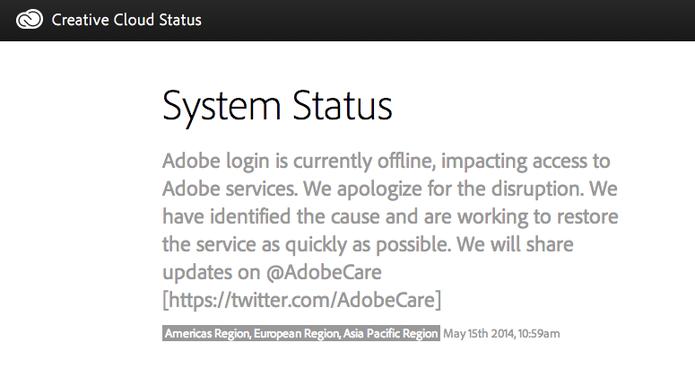 Página de status da Adobe confirma Photoshop Cloud fora do ar (Foto: Reprodução/Adobe)