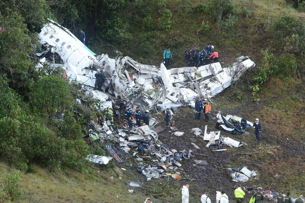 Avião acidentado que levava a Chapecoense à Colômbia (Foto: Luis Benavides/AP)