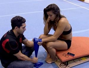 Fisioterapeuta Igor Letra e ginasta Jade Barbosa (Foto: Reprodução/SporTV)